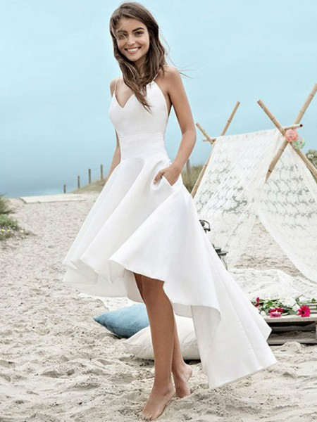 A-Line/Princess Spaghetti Straps Asymmetrical Sleeveless Ruched Satin Wedding Dresses