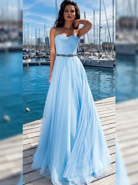 A-Line/Princess Sequins Sleeveless Floor-Length Ruffles Sweetheart Prom Dresses