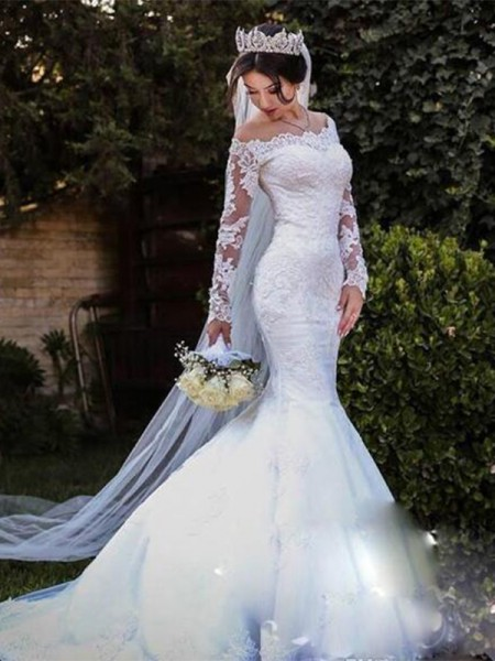 Trumpet/Mermaid Off-the-Shoulder Long Sleeves Sweep/Brush Train Tulle Wedding Dresses