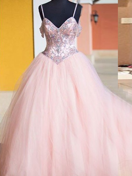 Ball Gown Spaghetti Straps Tulle Crystal Floor-Length Sleeveless Dresses