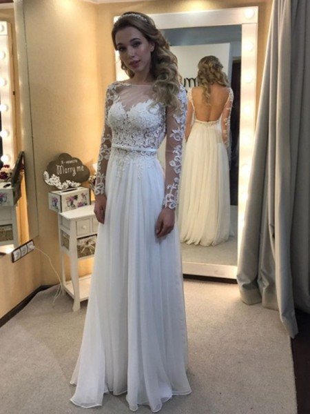 A-Line/Princess Bateau Chiffon Floor-Length Long Sleeves Wedding Dresses