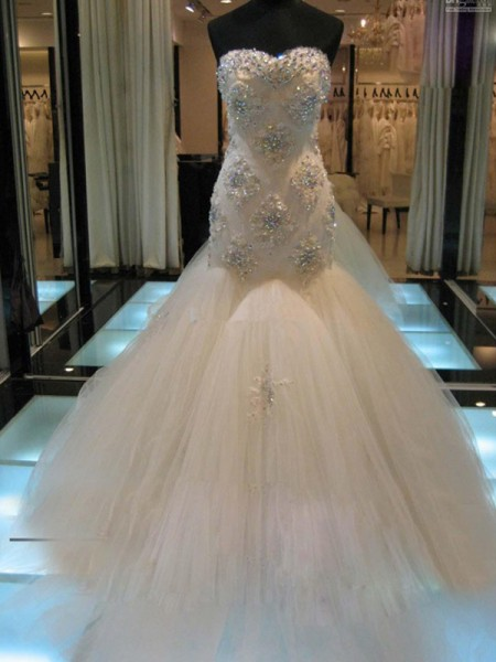 Trumpet/Mermaid Sweetheart Tulle Beading Chapel Train Sleeveless Wedding Dresses