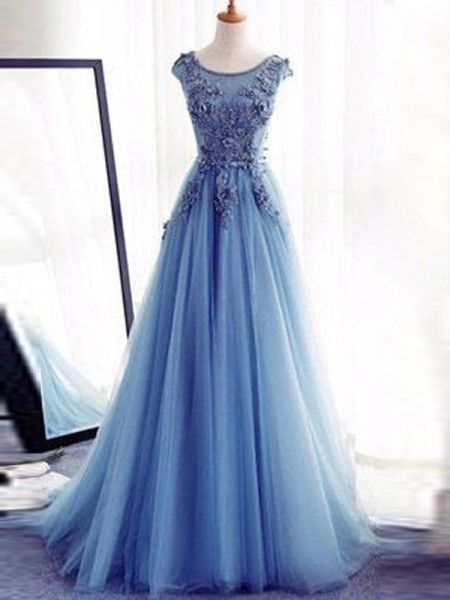 Ball Gown Jewel Tulle Applique Sweep/Brush Train Sleeveless Dresses