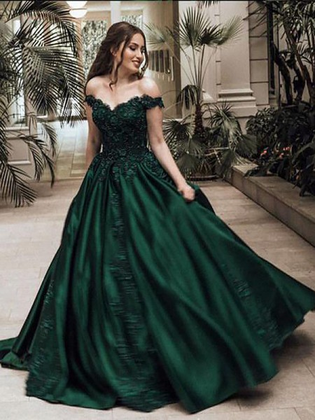 Ball Gown Off-the-Shoulder Satin Floor-Length Sleeveless Dresses