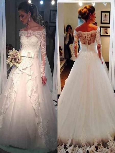 Ball Gown Off-the-Shoulder Long Sleeves Sweep/Brush Train Tulle Wedding Dresses