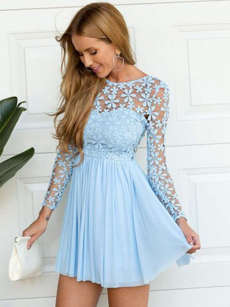 A-line/Princess Scoop Long Sleeves Short/Mini Chiffon Dresses
