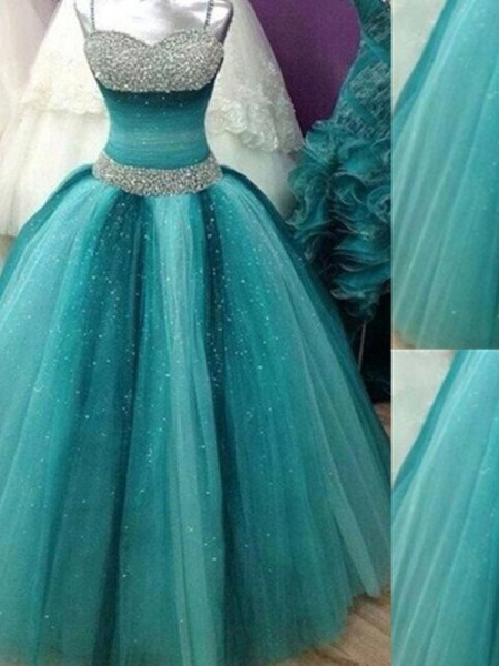 Ball Gown Spaghetti Straps Sleeveless Floor-Length Beading Tulle Dresses