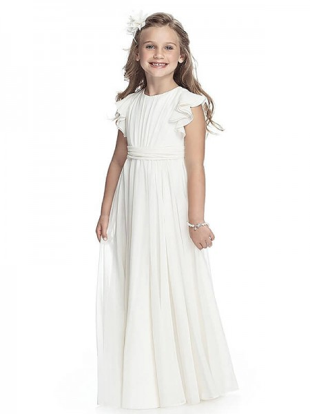 A-line/Princess Sleeveless Scoop Chiffon Floor-Length Flower Girl Dresses