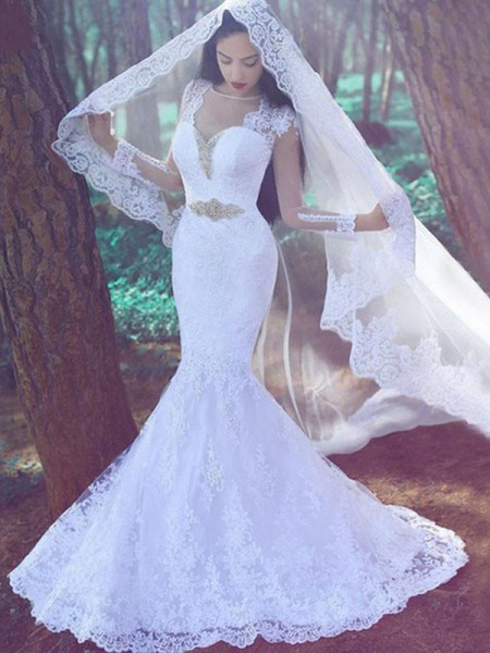 Trumpet/Mermaid Sweetheart Long Sleeves Court Train Applique Lace Wedding Dresses