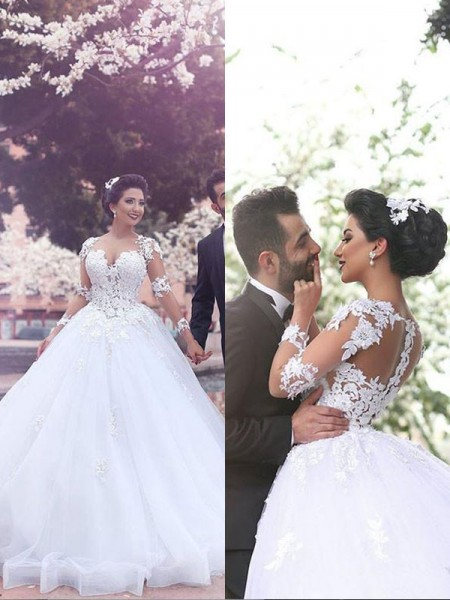 Ball Gown Sweetheart Long Sleeves Court Train Tulle Wedding Dresses