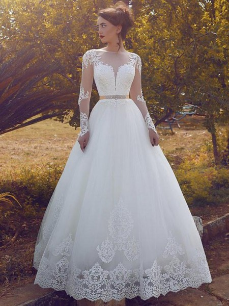 Ball Gown Bateau Long Sleeves Floor-Length Tulle Wedding Dresses