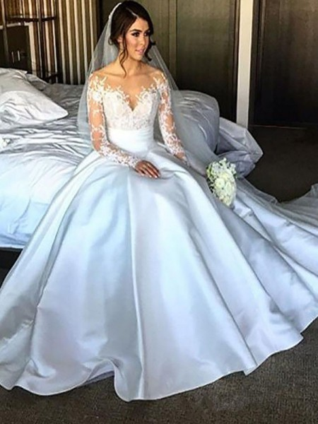 Ball Gown Off-the-Shoulder Long Sleeves Court Train Satin Wedding Dresses