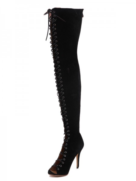 Suede Leather Boots With Lace Up