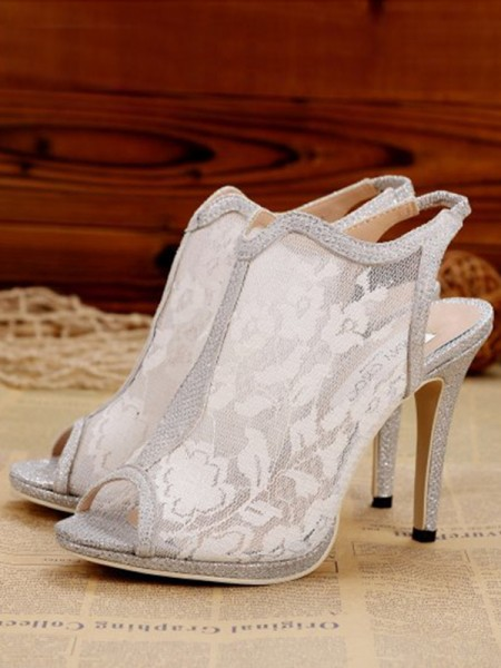 Lace Peep Toe Sandals High Heels