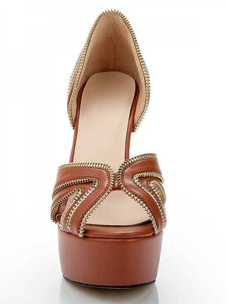 Sheepskin Sandals High Heels with Zipper Decoration