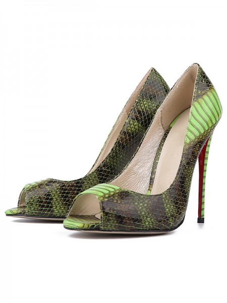 Women's Snake Print PU Peep Toe Stiletto Heel High Heels