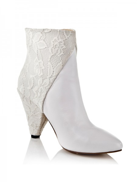 Women's Cattlehide Leather Net Cone Heel With Lace Ankle White Boots