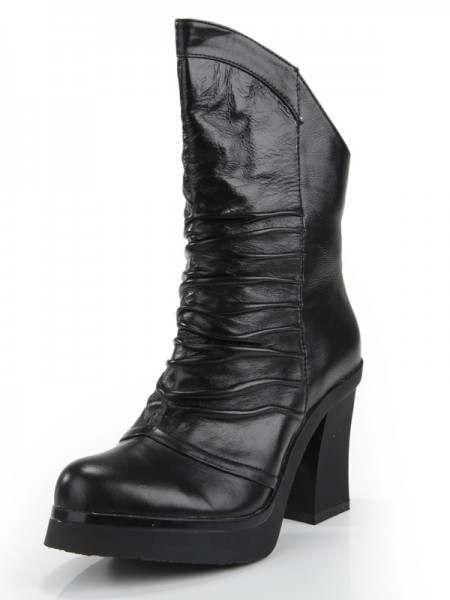 Women's Cattlehide Leather Chunky Heel Closed Toe With Ruched Mid-Calf Black Boots