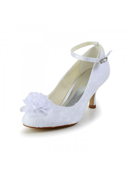 Women's Satin Closed Toe White Wedding Shoes With Flower Buckle