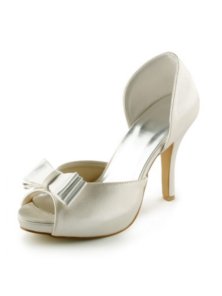 Women's Satin Stiletto Heel Peep Toe Platform Sandals Ivory Wedding Shoes With Bowknot
