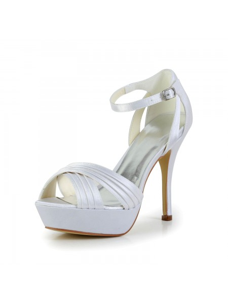 Women's Satin Stiletto Heel Peep Toe Platform Sandals White Wedding Shoes With Buckle