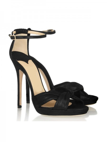 Women's Stiletto Heel Satin Mary Jane Platform Peep Toe Sandals Shoes