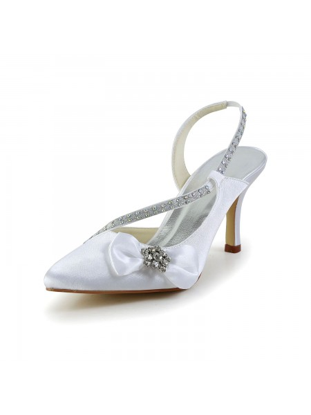 Women's Satin Closed Toe Spool Heel With Rhinestone Bowknot White Wedding Shoes