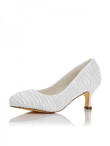 Women's Satin PU Closed Toe Spool Heel Wedding Shoes