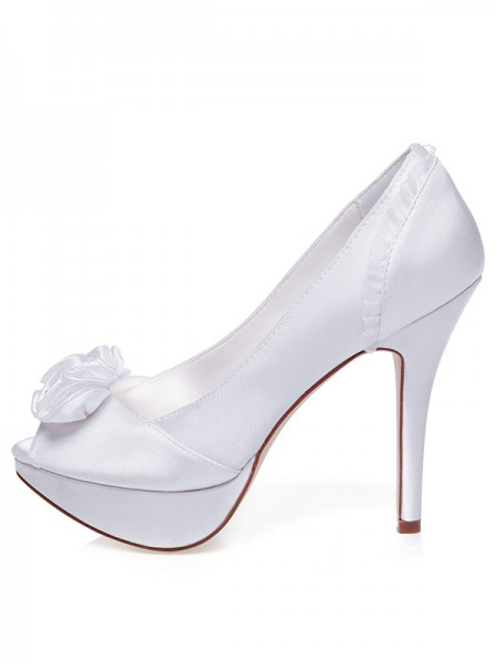 Women's Satin Peep Toe Stiletto Heel Knots Wedding Shoes