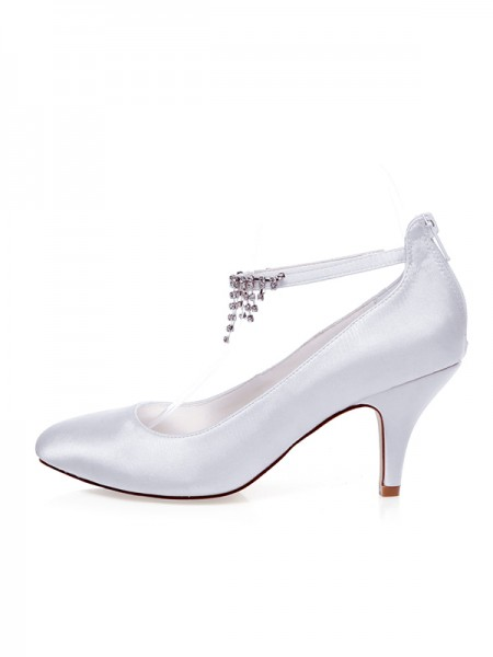 Women's Satin Closed Toe Beading Spool Heel Wedding Shoes