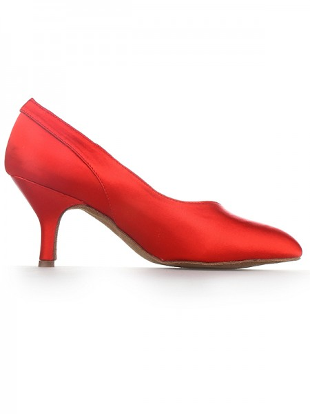 Women's Red Closed Toe Cone Heel Satin High Heels