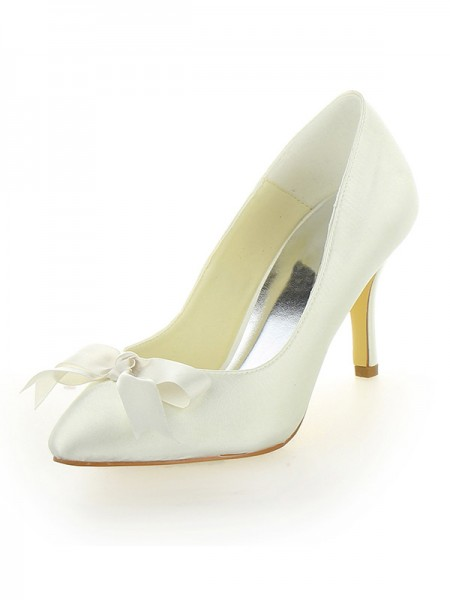 Women's Stiletto Heel Satin Closed Toe With Bowknot Ivory Wedding Shoes