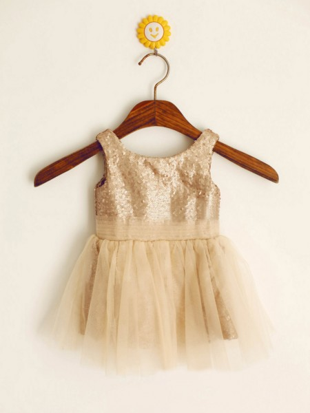 A-Line/Princess Sleeveless Scoop Sequins Sequin Floor-Length Flower Girl Dresses