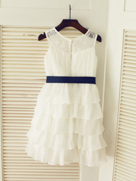 A-Line/Princess Sleeveless Scoop Chiffon Ruched Tea-Length Flower Girl Dresses