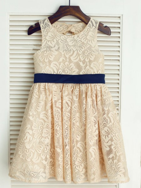 A-Line/Princess Sleeveless Scoop Lace Bowknot Tea-Length Flower Girl Dresses