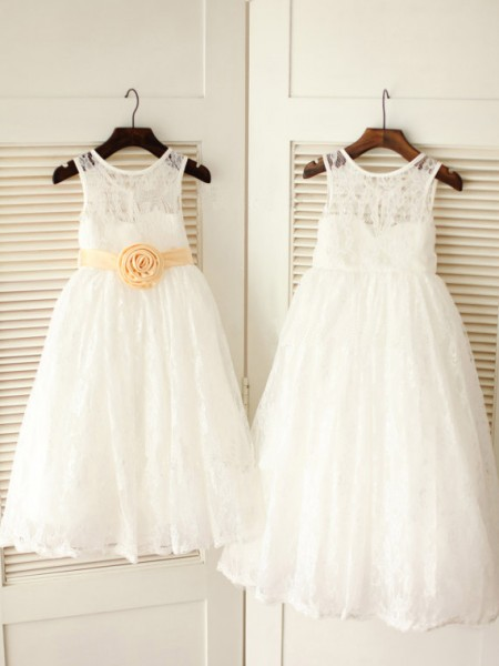 A-Line/Princess Sleeveless Scoop Lace Sash/Ribbon/Belt Ankle-Length Flower Girl Dresses