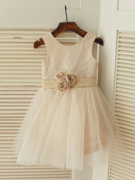 A-Line/Princess Sleeveless Scoop Tulle Sash/Ribbon/Belt Tea-Length Flower Girl Dresses
