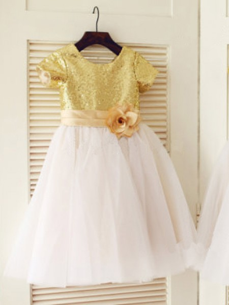 A-Line/Princess Short Sleeves Scoop Tulle Sequin Knee-Length Flower Girl Dresses