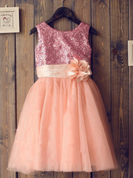 A-Line/Princess Sleeveless Scoop Tulle Sequin Knee-Length Flower Girl Dresses
