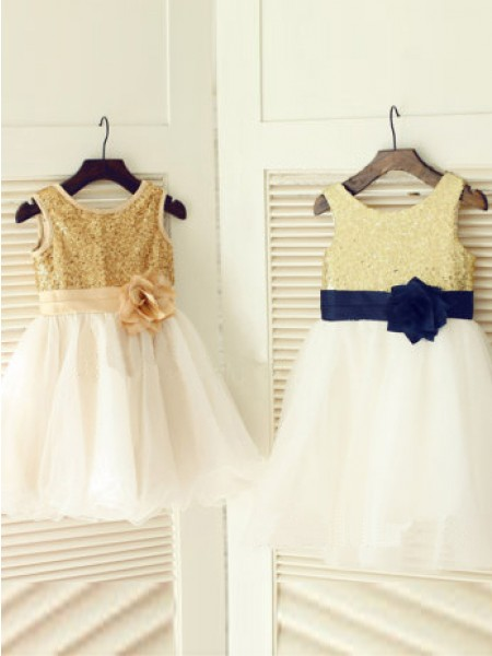 A-Line/Princess Sleeveless Scoop Tulle Hand-Made Flower Tea-Length Flower Girl Dresses