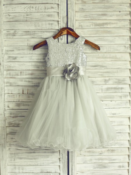 A-Line/Princess Sleeveless Scoop Organza Hand-Made Flower Knee-Length Flower Girl Dresses