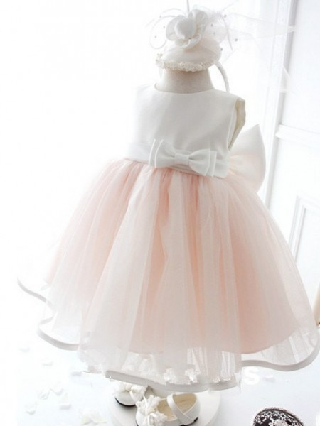 Ball Gown Sleeveless Jewel Organza Bowknot Tea-Length Flower Girl Dresses